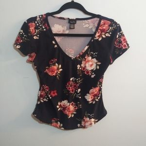 Rue 21 Navy Blue with Flowers Tee
